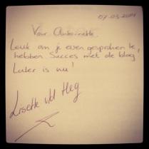 Later met wensen van Lisette van de Heg